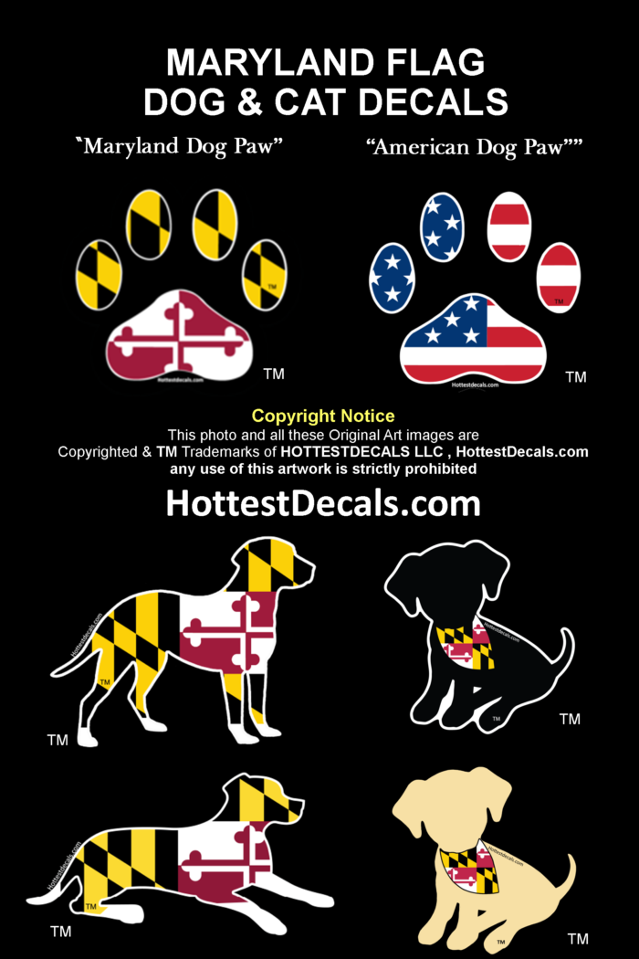 Maryland Flag Puppy Dog Decal Sticker